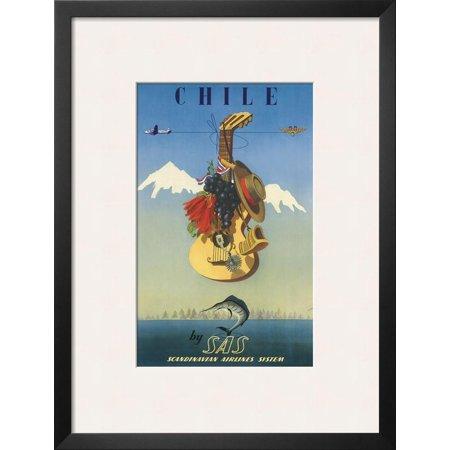 Scandinavian Airlines Chile, Gaucho Guitar, c.1951 Framed Art Print Wall Art  - 20x26 ()