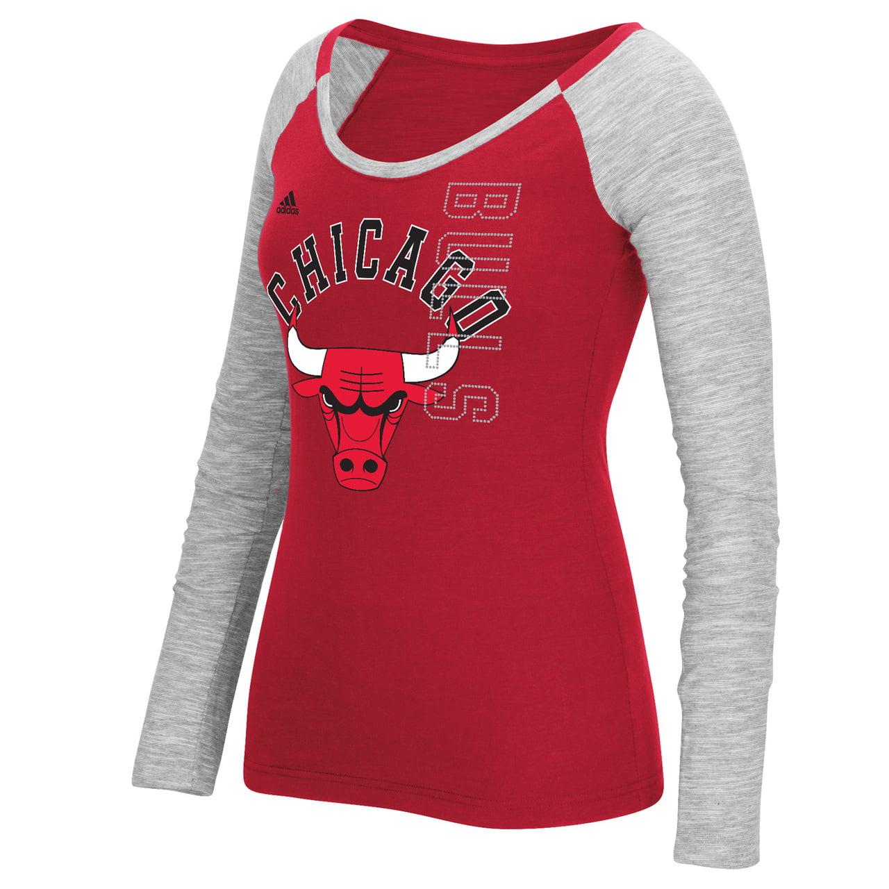 Chicago Bulls Women's Liquid Dots Long Sleeve T-Shirt Red by Adidas