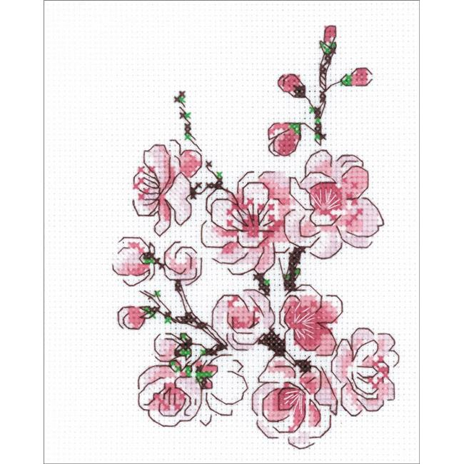 """RIOLIS Counted Cross Stitch Kit 5/""""X6/""""-The Branch Of Sakura 14 Count"""