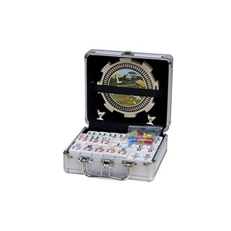 - Double 12 Numeral Tiles 2-in-1 Mexican Train Dominoes Set in Aluminum Carry Case