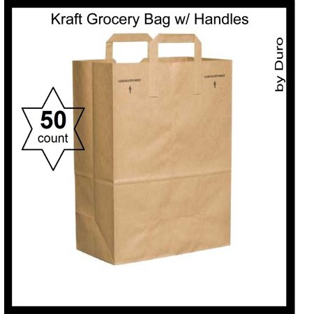50 Paper Retail Grocery Bags Kraft With Handles 12x7x17 By