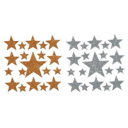 Darice Foamie Glitter Stars Stickers, 2 Sheets, Gold And Silver - Star Stickers