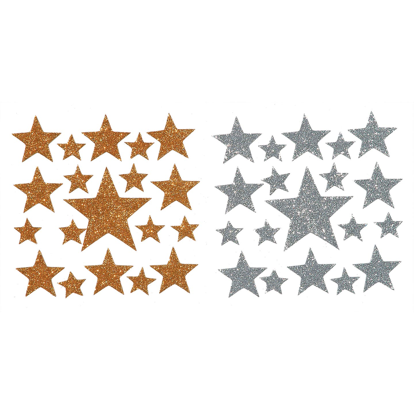 Darice Foamie Glitter Stars Stickers, 2 Sheets, Gold And Silver