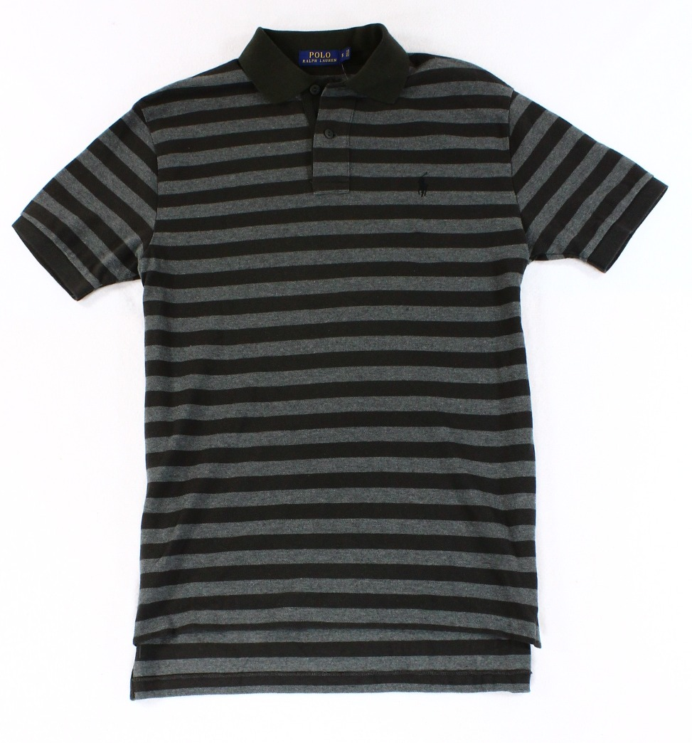 Polo Ralph Lauren NEW Black Gray Mens Size Small S Striped Polo Rugby Shirt