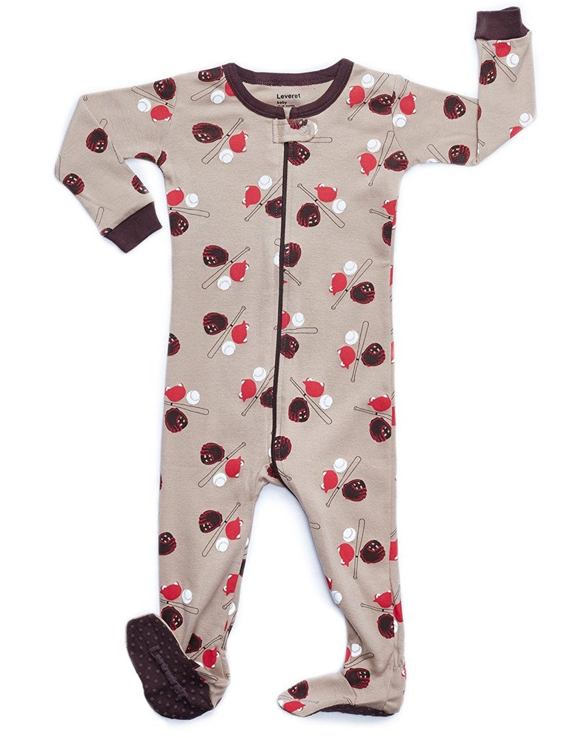 Leveret Baseball Footed Pajama Sleeper 100% Cotton 3 Years