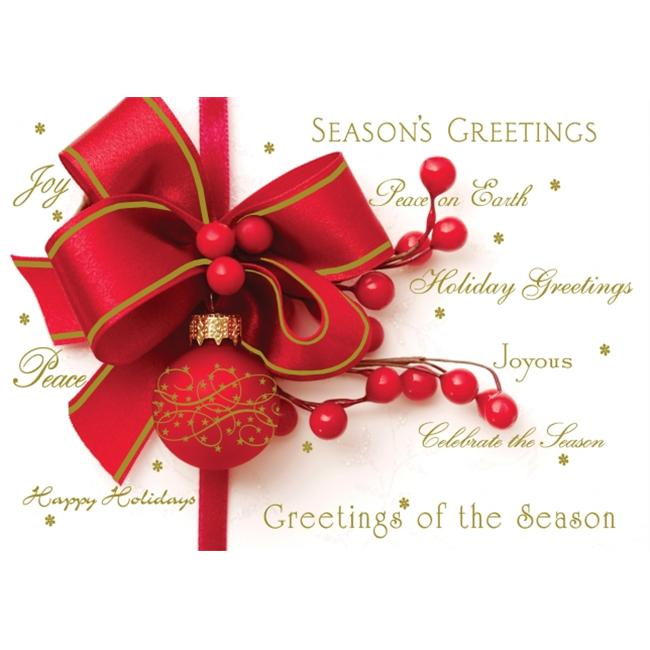 Birchcraft Studios 3402 Red Ornament - Gold Lined Envelope with White Lining - Red Ink - Pack of 25