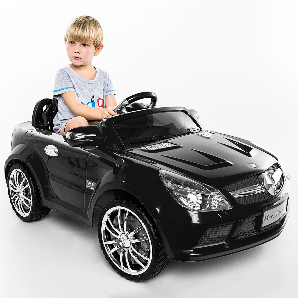 Costway 12v Mercedes Benz Sl65 Electric Kids Ride On Car Music Rc Remote Control Red Black