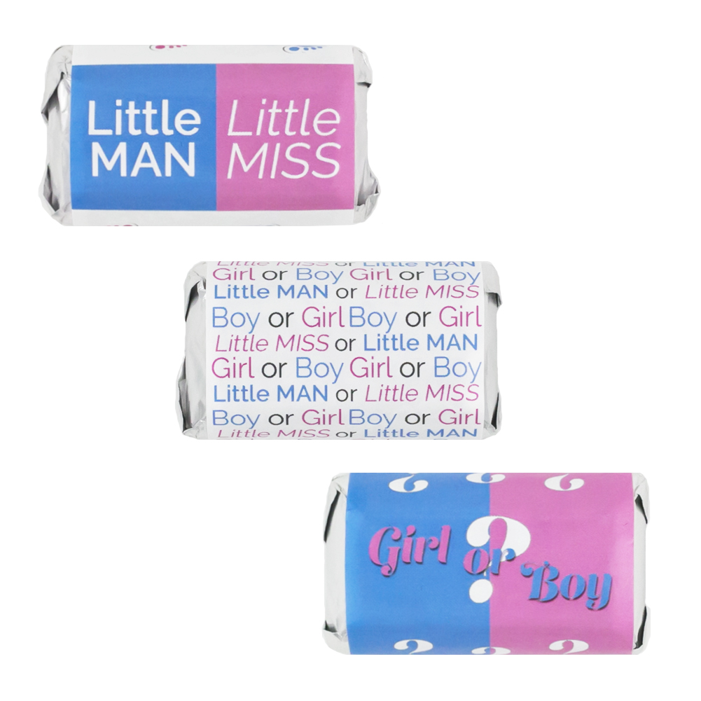Baby Gender Reveal Party Favor Stickers for Hershey's Miniatures Candy Bars (Set of 54)