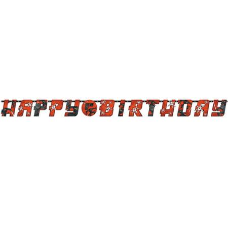 Black And Red Happy Birthday Banner (Happy Birthday 'Ninja' Jumbo Letter Banner Kit)