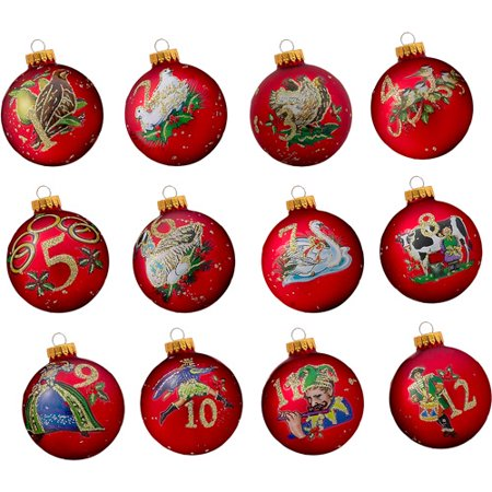 Kurt Adler 65mm 12 Days of Christmas Decorative Glass Balls, 12-Piece ()