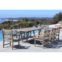 Renaissance Outdoor 9-piece Hand-scraped Wood Patio Dining Set with Extension Table