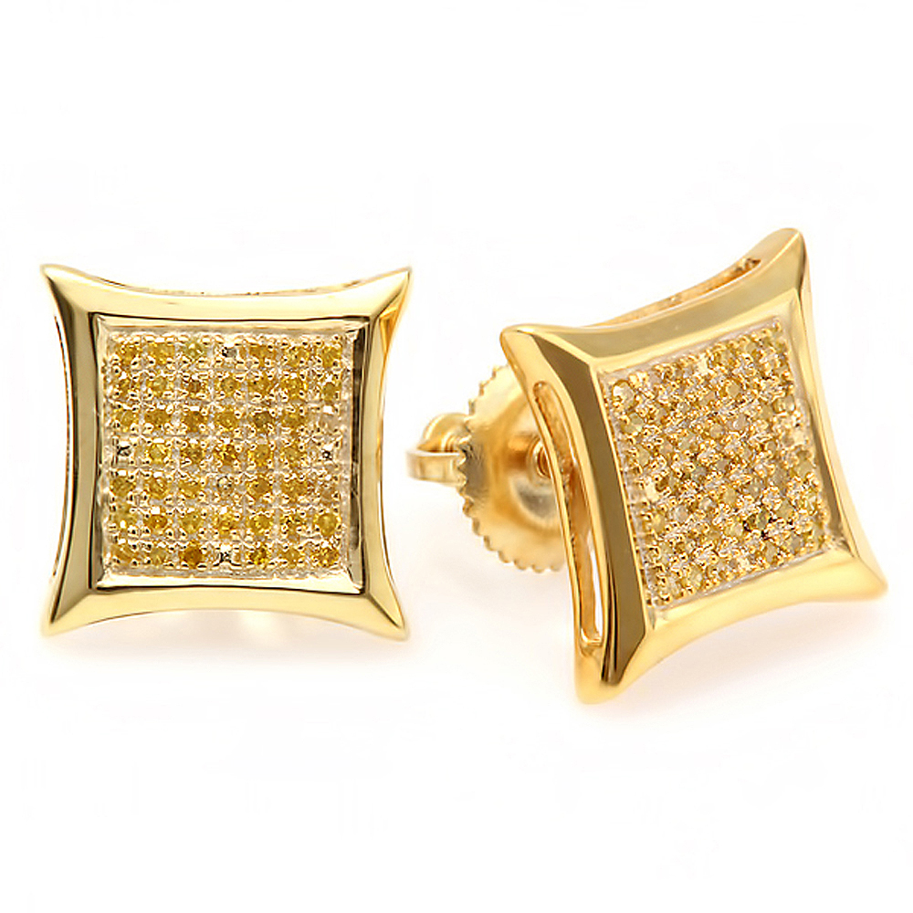 0.40 Carat (ctw) Yellow Round Diamond Micro Pave Setting Kite Shape Stud Earrings