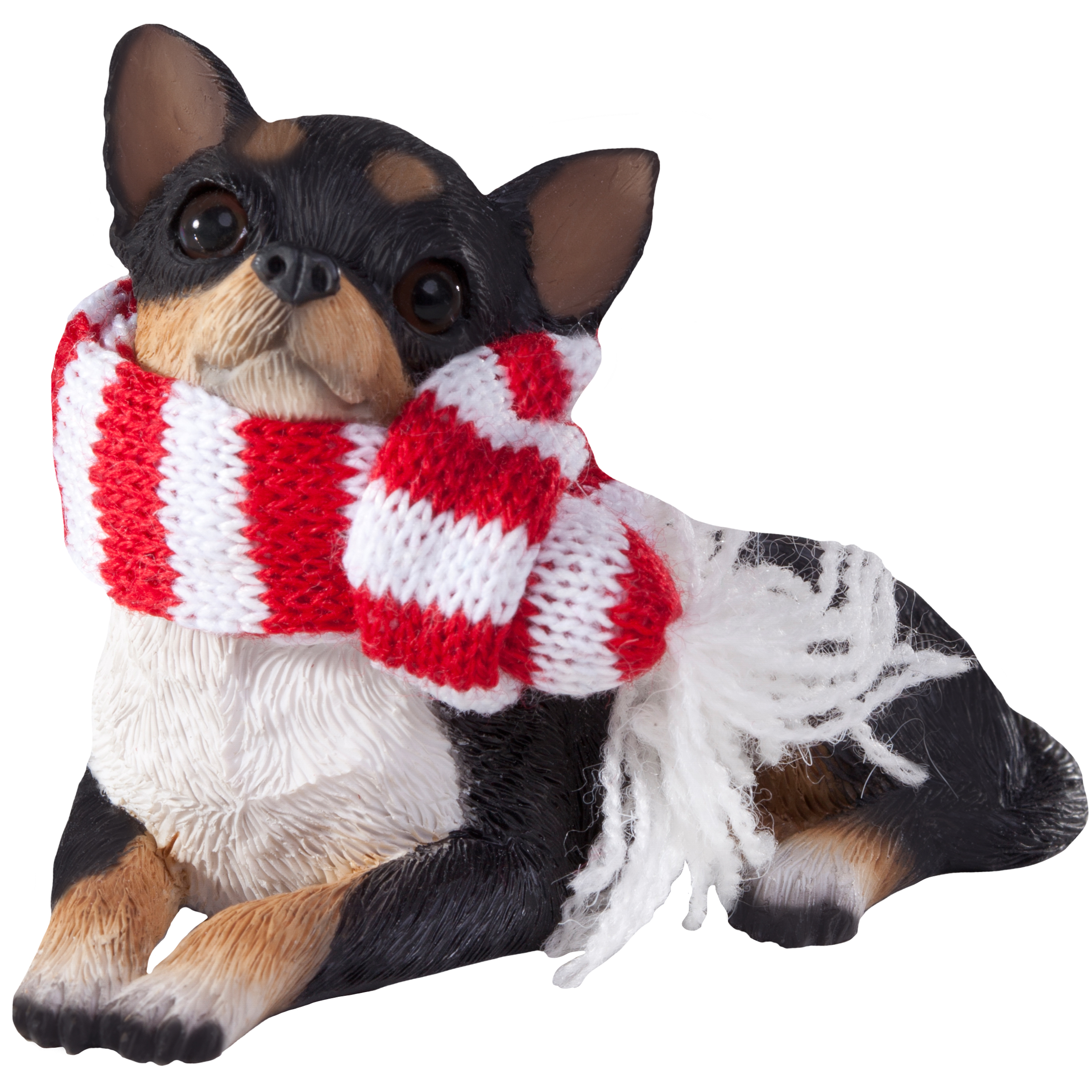 Sandicast Lying Tri Chihuahua with Scarf Christmas Dog Ornament