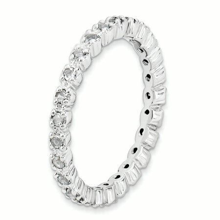 Sterling Silver Stackable Expressions White Topaz Ring Size 5 - image 2 de 3