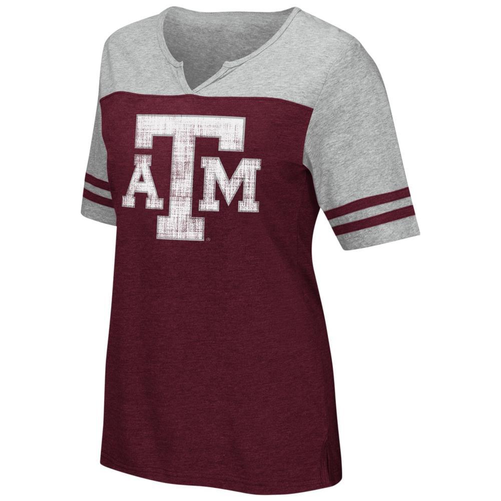 Texas A&M Aggies V-Neck Tee On A Break Fashion T-Shirt