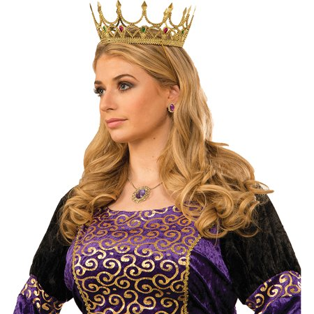 Morris Costumes Plastic Royal Queen Gold Crown One Size, Style FM76046