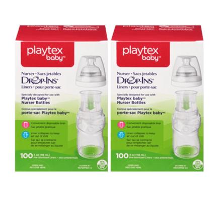 (2 Pack) Playtex Baby Drop-Ins Liners For Playtex Baby Nurser Bottles 4-6oz 100 count