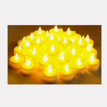 Instapark LCL-48 Battery-powered Flameless Pet-safe and Child-safe Wind-proof Indoor & Outdoor Decoration Flickering LED Faux Tea Light Candles, 4-Dozen per Pack