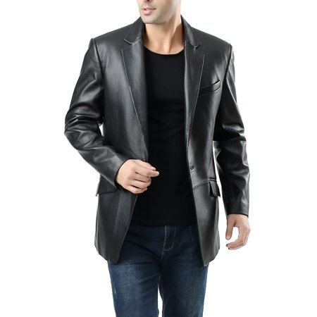 BGSD Men's John 1-Button Lambskin Leather Blazer (Short)