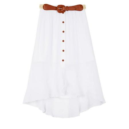 Amy Byer Spandex Skirt - Amy Byer Girl's High-Low Gauze Skirt