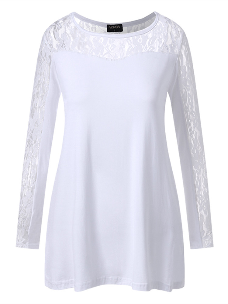 Maternity Tops Lace See Through Solid Color Loose Long Sleeve Blouse