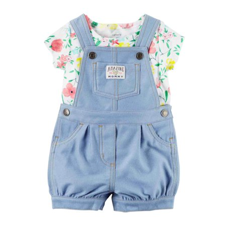 Carters Infant Girls Blue Floral Baby Outfit Shortall Overalls & Tee Set