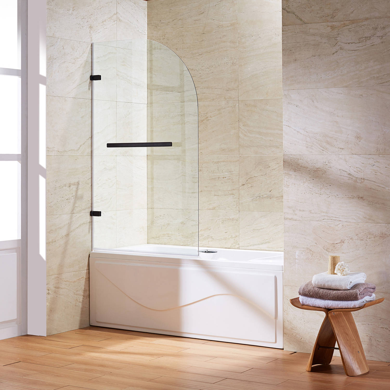 VIGO Orion Clear Curved Bathtub Door in Antique Rubbed Bronze