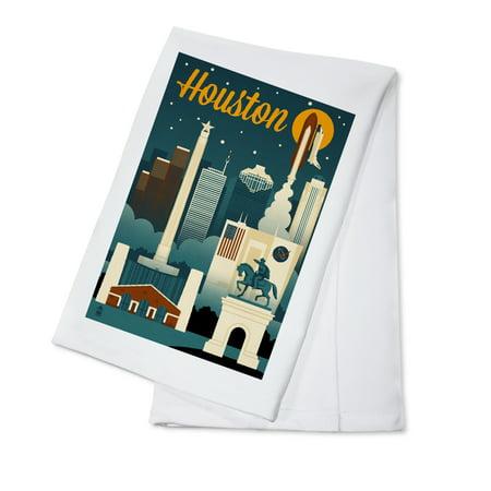 Houston, Texas - Retro Skyline - Lantern Press Artwork (100% Cotton Kitchen Towel)