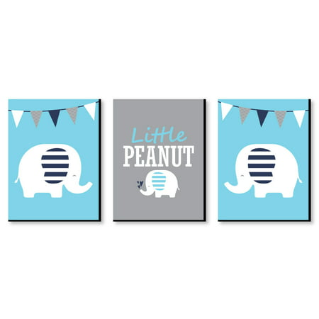 "Sports Nursery Decor (Blue Elephant - Baby Boy Nursery Wall Art & Kids Room Decor - 7.5"" x 10"" - Set of 3)"