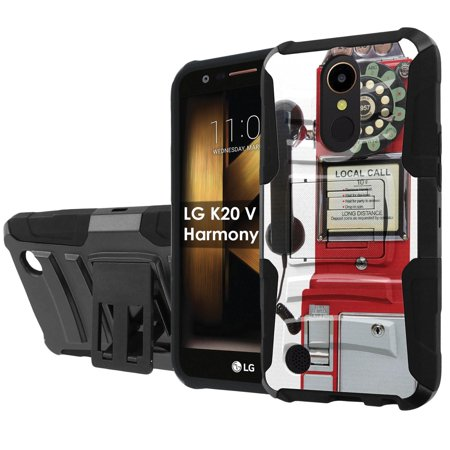 LG K20 / M257 HARMONY / VS501 (K20V) / V5 / TP2608 (K20 PLUS) [NakedShield] Black Defender Combat Armor Case [KickStand] [Holster] - [Pay Phone]