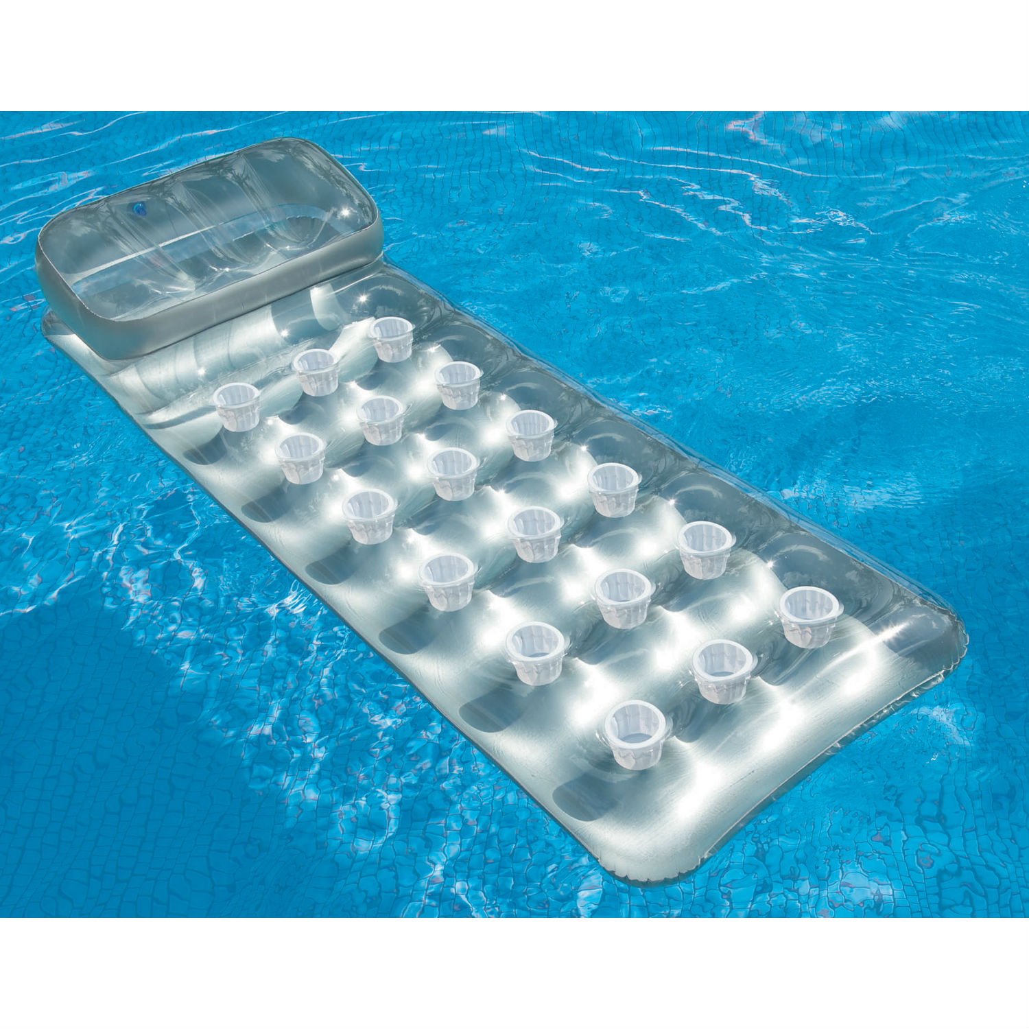 Intex Inflatable 18-Pocket Suntanner Mat with Built-In Pillow