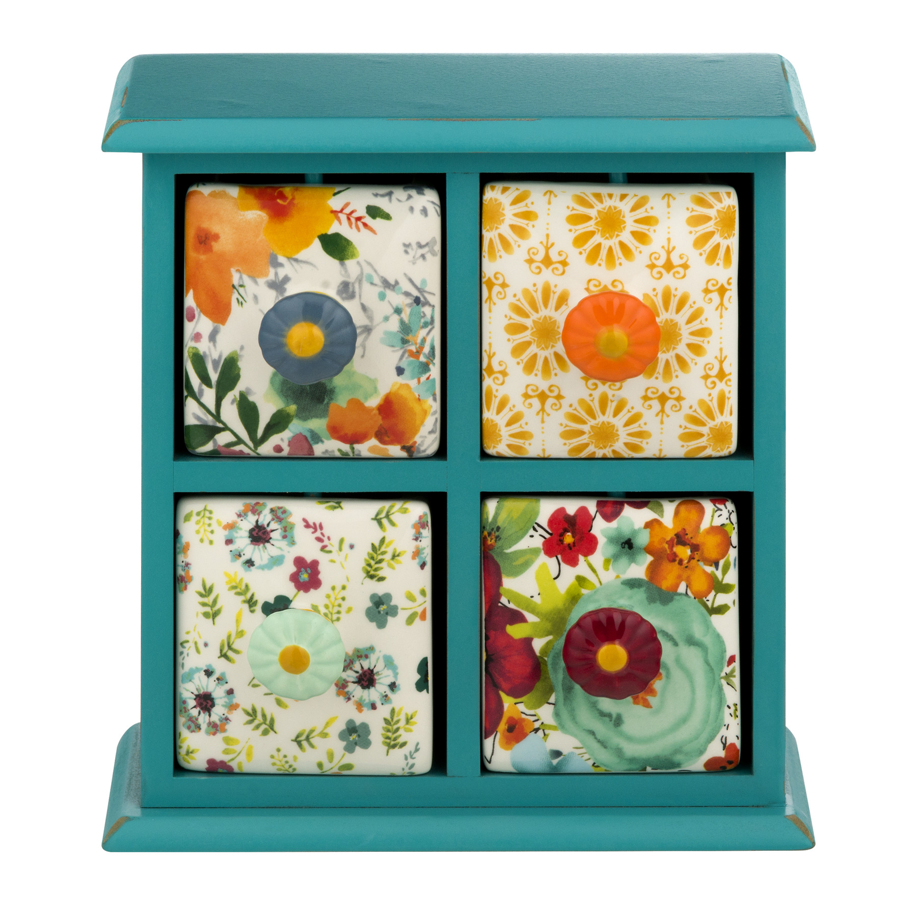 The Pioneer Woman Flea Market Distressed 4-Drawer Spice/Tea Box, Teal