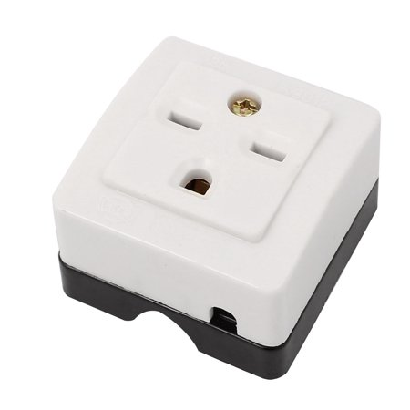 125V 15A US Socket White 3 Pin Panle Mounting Power 1 US Standard Ports