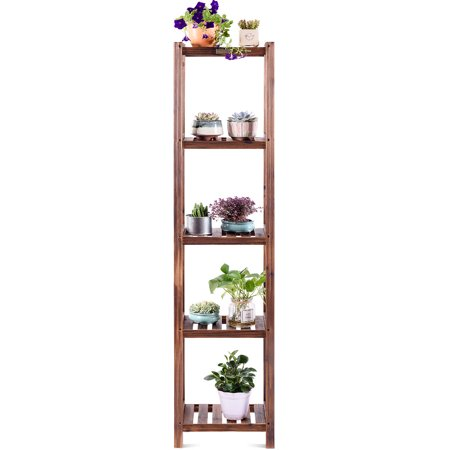 Topbuy 4-Tier Corner Wood Display Shelf Flower Racks Plant Stand Storage Book Shelf for Balcony ()