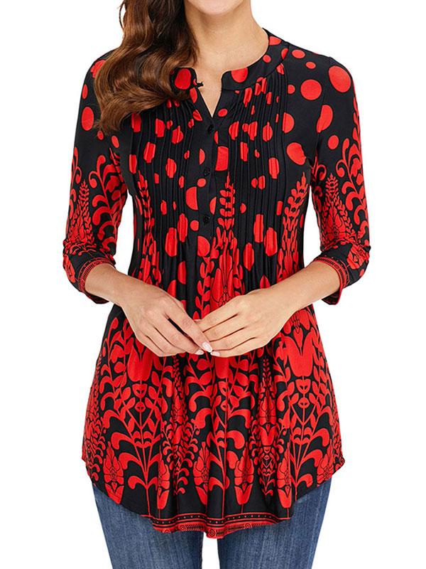 Red Womens Blouses Shirts Walmart Com