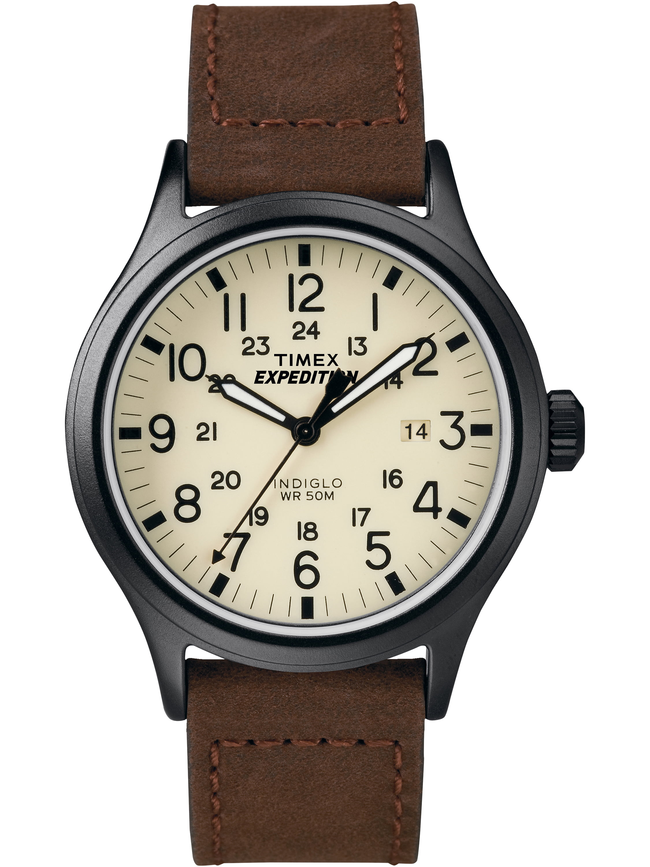 Timex Men's Expedition Scout Brown Watch, Leather Strap by Timex