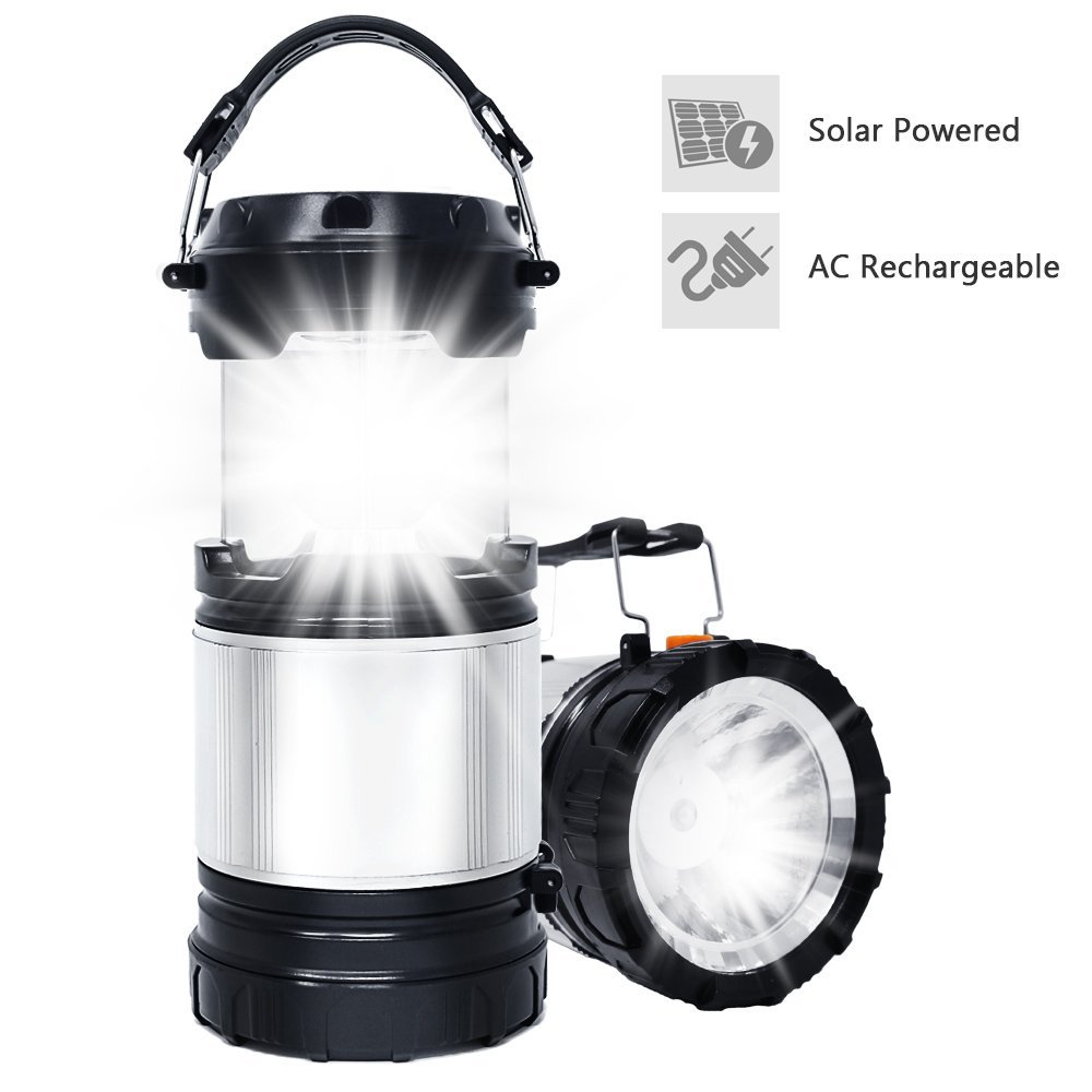LED Camping Light, TSV Camp Lantern Solar Rechargable Flashlight Portable Collapsible COB Lights Bulb Lamp Compact Gifts... by