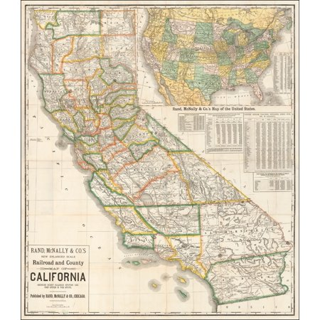 LAMINATED POSTER Rand, McNally & Co.'s New Enlarged Scale Railroad and County Map of California Showing Every Railroad Station and Post Office In The State . . . 1888 POSTER PRINT 24 x 36