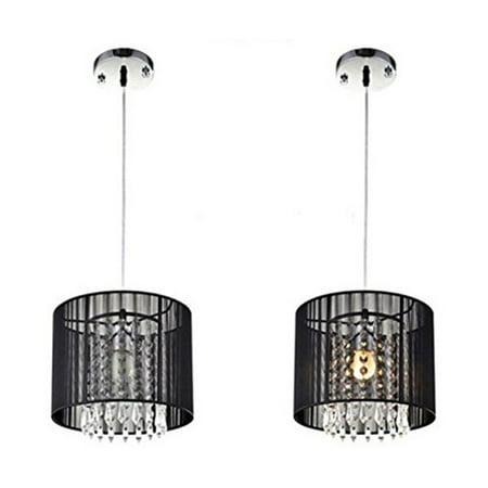 Modern Drum Pendant Light Shade Crystal Ceiling Lamp Dining Room Bright