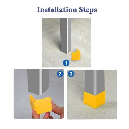 40mm x 40mm Angle Iron Foot Pad L Shaped Plastic Leg Cap Protector Yellow 4pcs - image 2 de 7