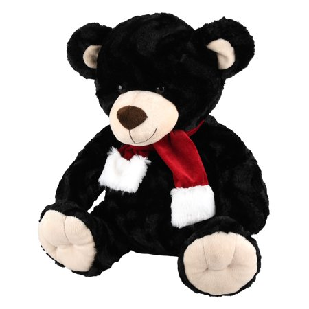 Realistic Black Bear - Holiday Time Fluffy Black Bear Toy in Scarf, 17