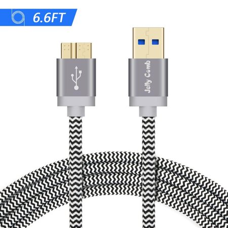 Comb Jelly (Samsung Galaxy S5 USB Data cable Note 3 Charger Cable, Jelly Comb Nylon Braided USB 3.0 Micro-B Fast Speed Data Sync & Charging Cable for Galaxy S5, Note 3, Tab Pro 12.2 (6.6ft / 1-Pack) )