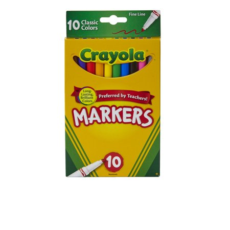 Crayola 10 Count Fine Tip Original Marker Set in Assorted Classic Colors