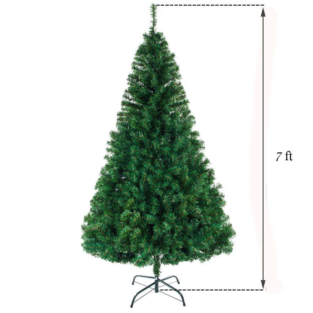 Christmas Tree 7ft 1100 Branches Christmas Tree for Indoor Outdoor Artificial Christmas Pine Tree With Metal Stand Christmas Decorations Clearance