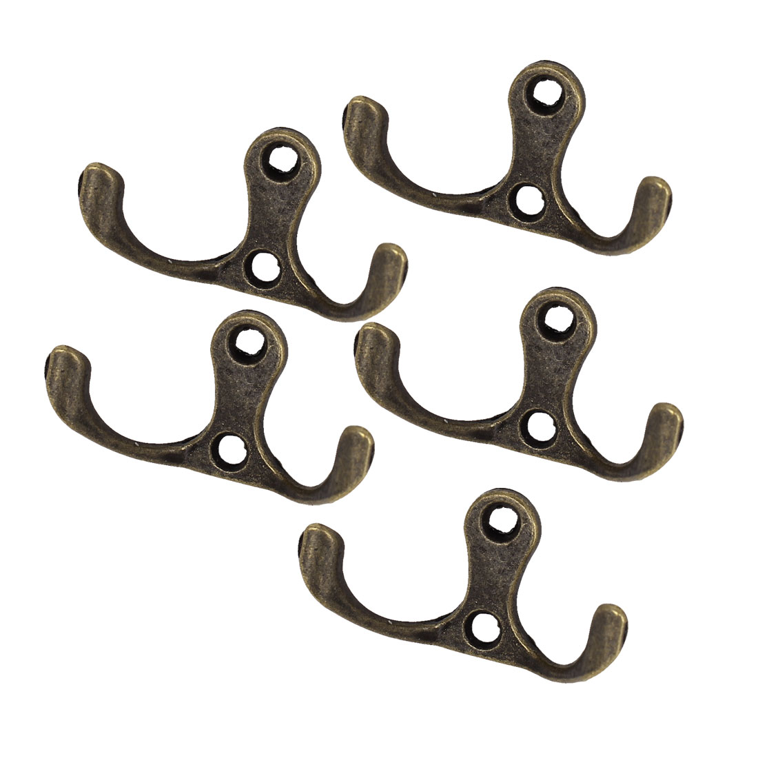 Uxcell 5pcs Bath Door Wall Hat Coat Towel Robe Hanging Retro Style Double Prong Hanger Hooks