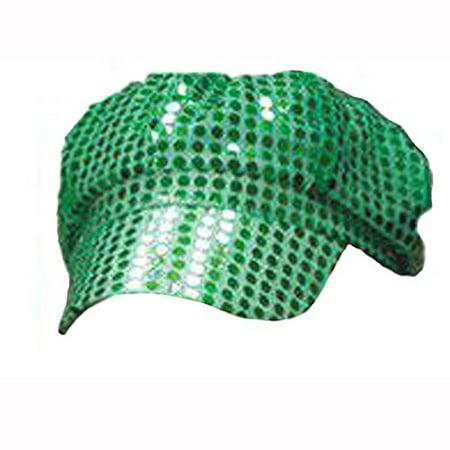 Women's Green Sequined Newsboy Cabbie Costume Hat - News Boy Costume