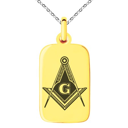 Stainless Steel Freemasons Masonic Royal Compass Engraved Small Rectangle Dog Tag Charm Pendant Necklace
