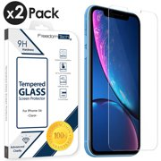 "2-PACK iPhone XR Tempered Glass Screen Protector Cover, Afflux Tempered Glass Screen Protector for Apple iPhone XR 6.1"" 9H Hardness, Premium Clarity, Scratch-Resistant, Anti-Bubble, Retail Box"