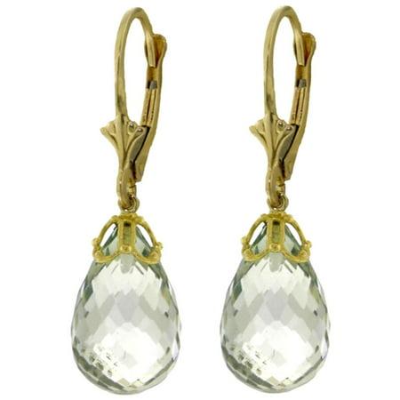 ALARRI 14 Carat 14K Solid Gold Earrings Briolette Green Amethyst.