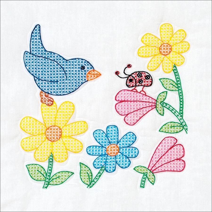 "Stamped White Themed Quilt Blocks, 14"" x 14"", 6pk, Bird And Flowers"